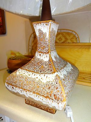 "DRIP GLAZE MID-CENTURY LAMP 25"" TALL Retro Works great Brown & white no shade"