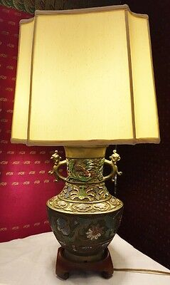 Antique Cloisonne And Bronze Vase-Style Lamp
