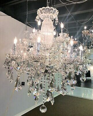 "Olde World 12 Light French Double Cut Crystal Chandelier 31"" D Large Two 2 Tier"