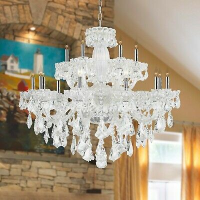 "Olde World 18 Light French Double Cut Crystal Chandelier 39"" D Large Two 2 Tier"