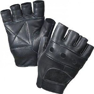 Leather Fingerless Mens Weight Training Gloves Black Cycling Wheelchair