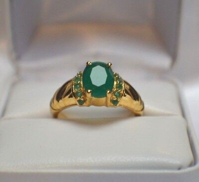 GLAMOROUS 3.64ct. AFRICAN NATURAL EMERALD GOLD OVER .925 STERLING  SILVER RING
