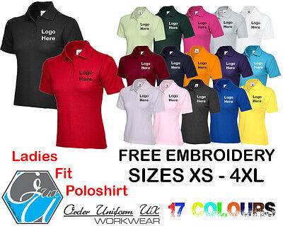 Personalised Embroidered ladies Fit Polo Shirt Workwear, Uniform, Logo, Business