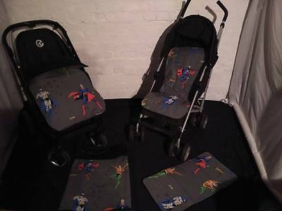 batman superman hero dc stay put blanket/footmuff or pram liner grey red blue