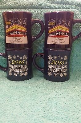 Waffle House Coffee Mugs Set Of Four Rare 2015 Christmas Brand New Free Shipping