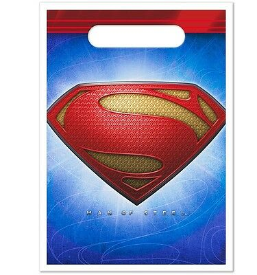 SUPERMAN Man of Steel ~ (8) Party Favor Loot Bags ~ Birthday Party Decorations