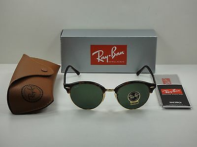 Ray-Ban Clubround Sunglasses Rb4246 990 Tortoise/green Classic Lens 51Mm New!