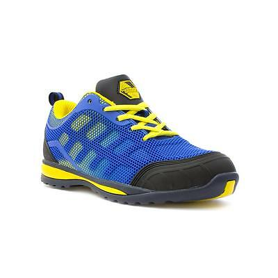 Earth Works Safety Footwear - EarthWorks Mens Blue and Yellow Mesh Safety Shoe