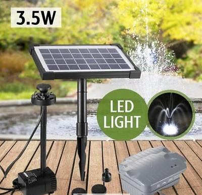 Water Feature Pump Kit Solar Power Pond/Pool with Timer & LED Light 3.5W