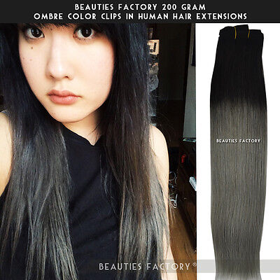 """BF 200gr Full Thick Ombre Clip in Remy Human Hair Extension 20"""" Double Wefted"""
