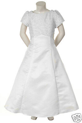New Girl Wedding Prom Easter Party Formal Recital Dress White sz: 4 6 8 10 14