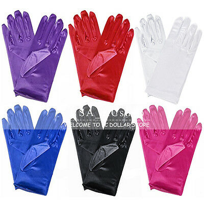 "New 9"" Wrist Length Stretch Satin Bridal Wedding Prom Opera Costume Dress Gloves"