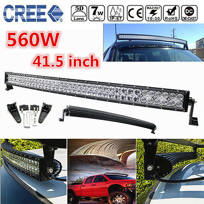 5D CREE 42INCH LED Curved Combo Spot Flood Work Light Bar 560W Offroad Driving