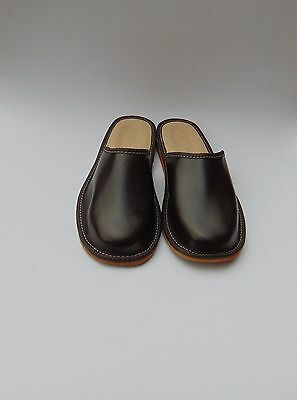 Mens Brown Real Leather Slippers *EU HAND MADE PRODUCT*size 8