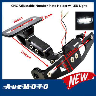 Adjustable CNC LED Number Plate License Holder Bracket Mount Roadbike Motorcycle