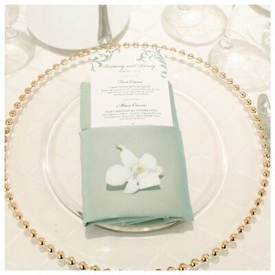 4 Gold Beaded Glass Charger Plate for Weddings and Dinner Party 33cm  **NEW**