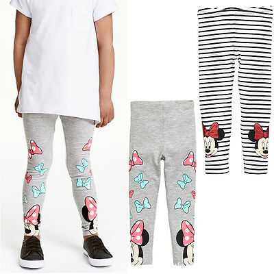 Childrens Cotton Leggings Full Length Girls Kids Minnie Mouse Trousers Pants