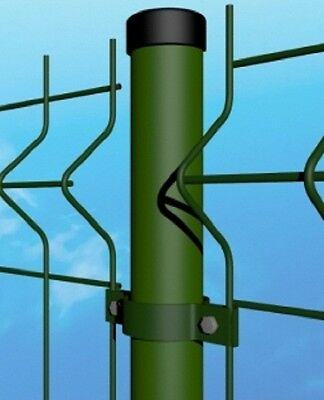 Round green post with collar – wire mesh fencing  electro welded fence panel