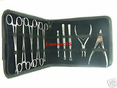 New Professional Body Piercing Tools Kit Stainless Steel 10 Pc Instrument Set
