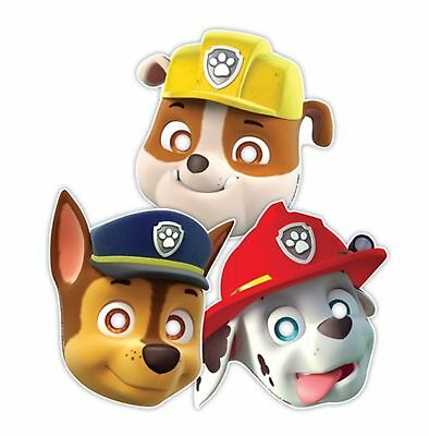 8 Paw Patrol Card Face Masks with attached elastic fancy dress