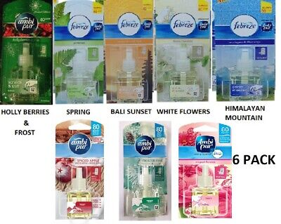 6 X 20Ml Ambi Pur Febreze Plug In Refill Air Freshener - Choose Scent