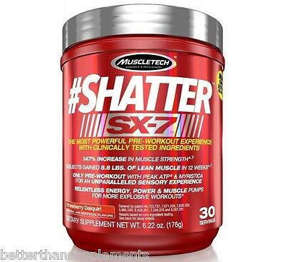 MuscleTech SHATTER SX-7 174g/30serv. Pre-Workout [Fruit Punch] Increase Muscle!