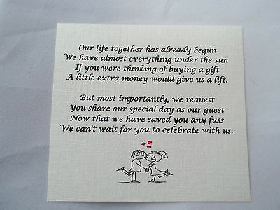Wedding Gift Poem Asking For Money : 50 Small Wedding Gift Poem Cards asking for Money Cash Choice of 5 1 ...