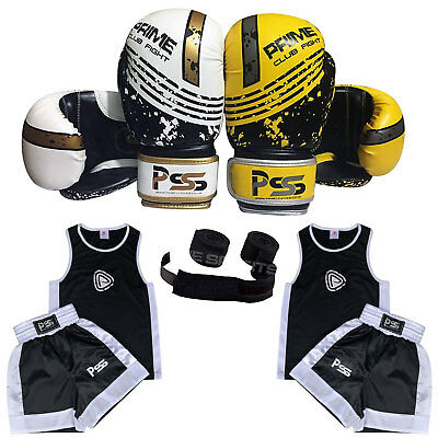 1004 Kids Uniform New Set of 3 Pieces Uniform (3-14 years) Gloves 4-6 OZ + Wraps