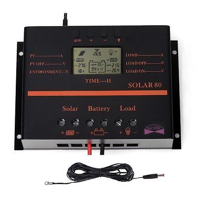 New 80A MPPT Solar Panel Charge Controller 960W/1920W + Extension Cable AU GL