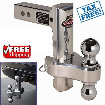 "Aluminum Adjustable Tow Hitch 8'' Drop Dual Ball 2"" & 2-5/16'' Receiver Pin NEW"