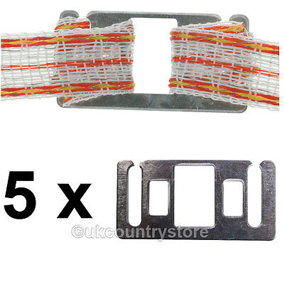20mm Tape Connection Plates - Electric Fence Connectors Joiners Pack of 5 / 10