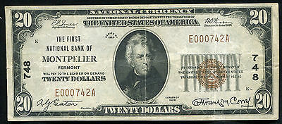 1929 $20 The First National Bank Of Montpelier, Vt National Currency Ch. #748