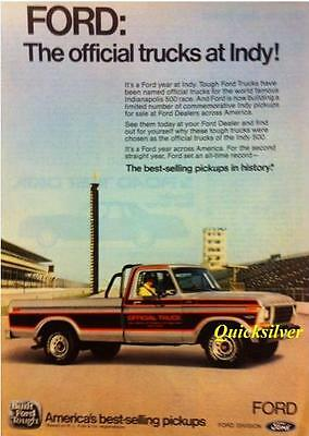 1979 Ford F-100 Indy 500 Official Pace Truck Original Ad