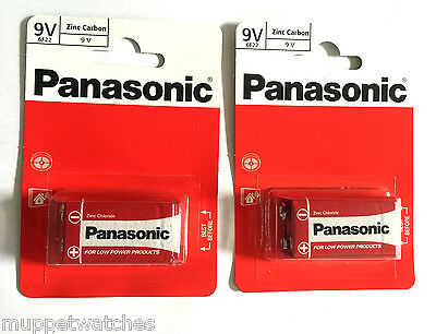 2 x PANASONIC 9V BATTERY MN1604 Square Block Smoke Alarm Zinc Carbon Batteries