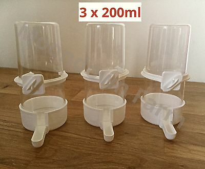 3 x Bird Feeder Water Drinker Seed Clipper Fountain Cage Budgie Canary Finch