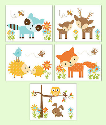 Woodland Animal Creatures Baby Forest Friends Nursery Prints Wall Art Decor Gift