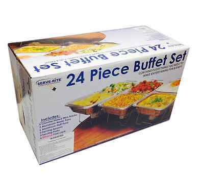 Catering Party Warm Food Buffet Serve-Rite 24-Piece Aluminum Water Chafing Sets