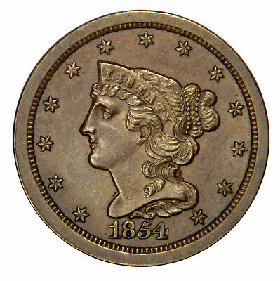 1854 Braided Half Cent - High Grade Bu Uncirculated Beauty Priced Right!