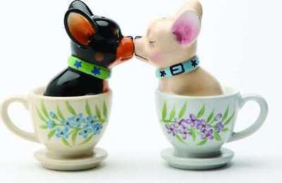 Kissing Chihuahua Pups in Tea Cup Magnetic Ceramic Salt and Pepper Shaker Set