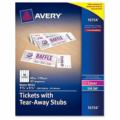 Avery Tickets with Tear-Away Stubs, 1.75 inches x 5.5 inches, Matte White, New