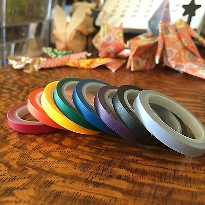 Washi Tape Thin Skinny Bold 8 Roll Set Each 5Mm X 5 Mtrs Scrap Craft Planner