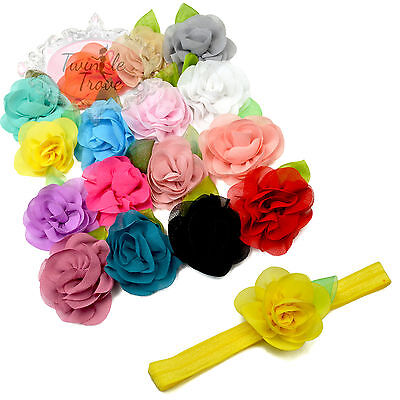 6cm Small Flower with Leaf Elastic Headbands Hairbands for Baby Kids Toddlers.