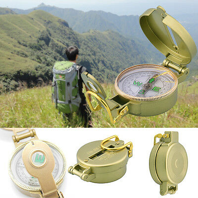DC45-3A Brass Pocket Watch Military Lensatic/Hand-held S/S Compass Camp Hiking