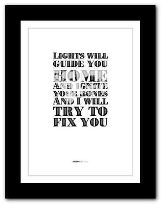❤ COLDPLAY Fix You ❤ song lyrics poster art limited edition typography print #7