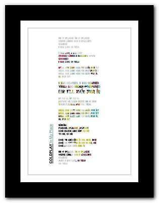 ❤ COLDPLAY In My Place ❤ song lyrics poster limited edition typography print #13