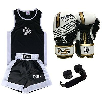 Prime kids Boxing Set 3 Pcs Boxing Uniform + Boxing Gloves + Boxing Wraps 1004