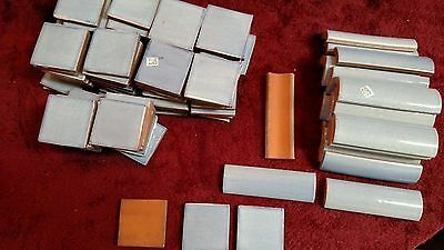 """Mexican Clay Tiles Blue 80 Pieces 2"""" x 2"""" & 24 Pieces 4 1/4"""" x 1 1/2"""" Never Used"""