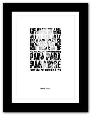 ❤ COLDPLAY Paradise ❤ song lyrics poster limited edition typography print #14