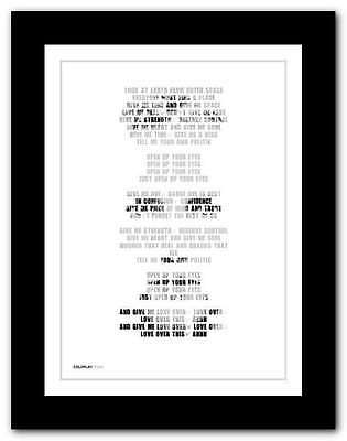❤ COLDPLAY Politik ❤ song lyrics poster art limited edition typography print #15