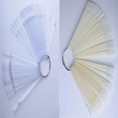 50X Clear/Ivory Nail Art Tips Pop Sticks Display Fan False Practice Starter